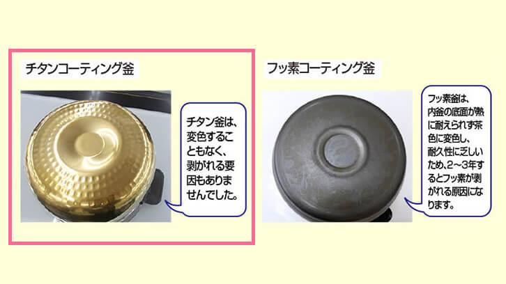 チタン内釜とフッ素内釜の比較