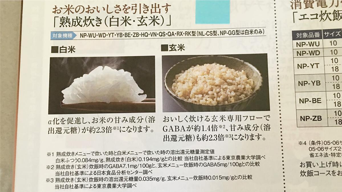 象印の玄米の熟成炊き