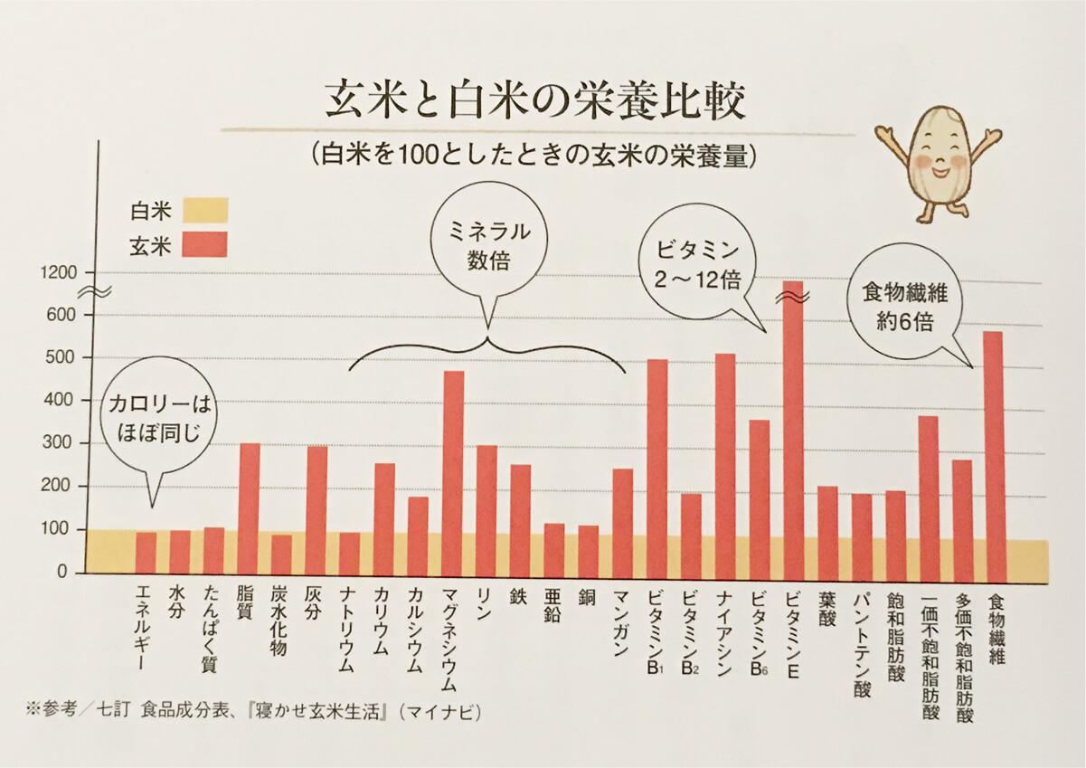 玄米と白米の栄養素の比較