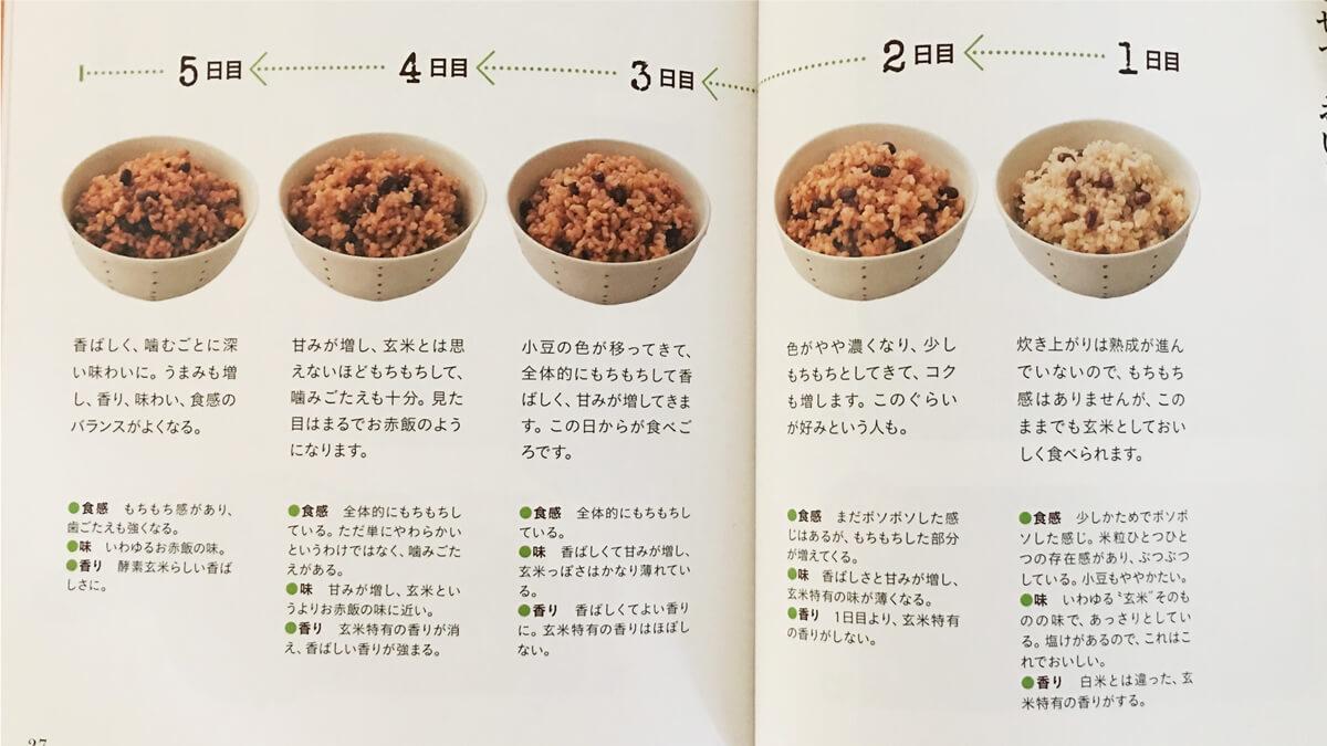 酵素玄米 & 寝かせ玄米の色の変化