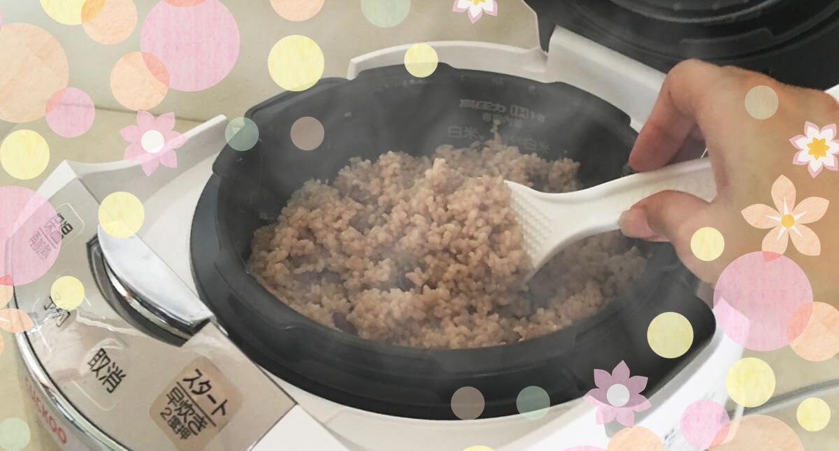 酵素玄米炊飯器 クック New圧力名人で作った、酵素玄米